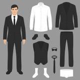 Men fashion, suit uniform, jacket, pants, shirt. Nvector illustration of a men fashion, suit uniform, jacket, pants, shirt and shoes isolated vector illustration