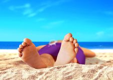 Men Feet at the Beach Royalty Free Stock Images
