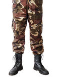 Men feet in camouflage pants and army boots. The picture was taken in a personal studio photographer Stock Images