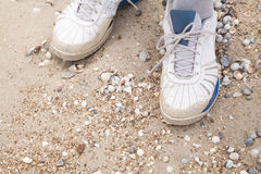 Men feet in sneakers on the beach. Men feet in old shoes sneakers on the sea beach Royalty Free Stock Image