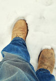 Men Feet in the snow! Stock Image