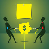 Men fight for money concept. Both men fight for saving money concept vector Stock Photography