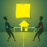 Men fight for new home concept. Both men fight for buying new home concept vector Stock Photos