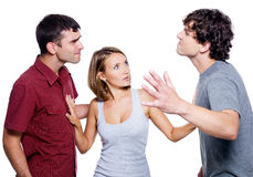 Men fight for the woman Stock Photo