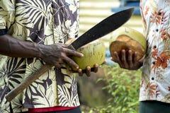 Men in Fiji, machete for opening coconut in hand Stock Photography