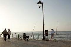 Men fishing, Beirut Stock Photos