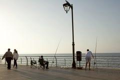 Men fishing, Beirut Stock Photos