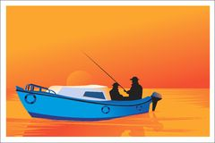 Men fishing with boat. Two silhouette men fishing with boat Stock Photos