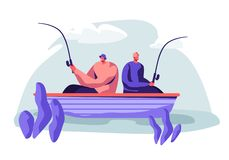 Men Fishing in Boat on Calm Lake or River at Summer Day. Relaxing Hobby at Summertime. Fishmen Sitting with Rods. Having Good Catch. Friends Spend Time Together vector illustration