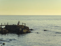 Men Fishing on the Coast Stock Images