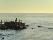 Men Fishing on the Coast Stock Images