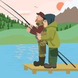 Men fishing at mountain lake Royalty Free Stock Photo