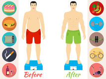 Men before and after the fitness Royalty Free Stock Images