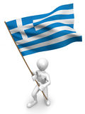 Men with flag. Greece Royalty Free Stock Image