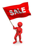 Men with flag sale. 3d Very beautiful three-dimensional illustration royalty free illustration