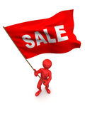 Men with flag sale. 3d Very beautiful three-dimensional illustration vector illustration