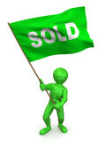 Men with flag sold Royalty Free Stock Photo