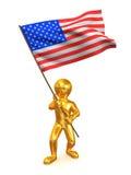 Men with flag. USA Stock Photo
