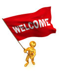 Men with flag welcome Royalty Free Stock Images