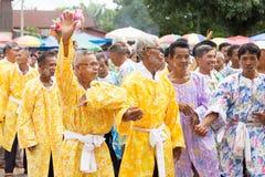 Men in flower cloak Royalty Free Stock Photography
