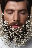 Men With Flowers In Their Beards. Creative Portrait of young beautiful man with a beard decorated with flowers royalty free stock photo