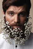 Men With Flowers In Their Beards. Creative Portrait of young beautiful man with a beard decorated with flowers royalty free stock photography