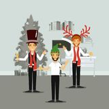 Men in formal clothes celebrating christmas with champagne and everyone with christmas hats. Vector illustration Stock Photos