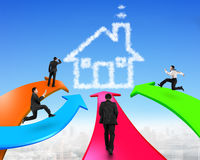 Men on four color arrows go toward house shape cloud. In the sky Royalty Free Stock Photography