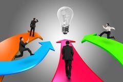 Men on four color arrows go toward light bulb Stock Image
