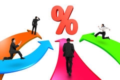 Men on four color arrows go toward percentage sign Royalty Free Stock Images