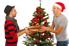 Men friends gives present Royalty Free Stock Photo