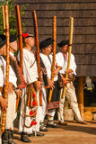Men with fujara at festival in Slovakia Stock Images