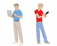 Men with gadgets Stock Images