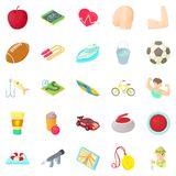 Men games icons set, cartoon style. Men games icons set. Cartoon set of 25 men games icons for web isolated on white background Royalty Free Stock Image