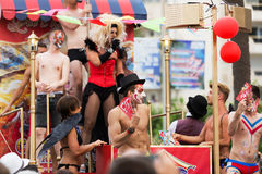 Men during  Gay pride parade in Sitges. Catalonia Stock Images