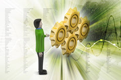 Men  with gear cogs Stock Image