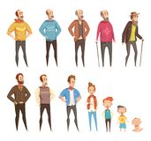 Men Generation Decorative Icons Set. Men generation flat colored icons set of different ages from baby to elderly cartoon vector illustration royalty free illustration