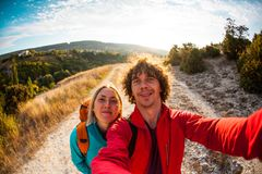 Selfie of two travelers. royalty free stock image