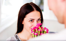 Men giving flowers to his lover woman. Valentine`s day. Anniversary. Men giving flowers to his lover woman Royalty Free Stock Photo