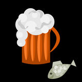 For men. A glass of beer and some fish for watching a football match at home or in a pub vector illustration