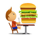 Men going to eat very big hamburger. Vecor illustration of Men going to eat very big hamburger with fork and knife while he sitting on the chair. Gradient mesh Royalty Free Stock Photography
