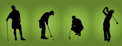 Men At Golf. Silhouette of four male golfers on green background Royalty Free Stock Photo
