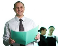 Men with green folder Stock Photography