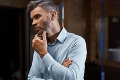 Men Grooming. Handsome Man With Beard Touching Face. Skin Care Royalty Free Stock Images