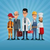 Men group differents occupation workers labor day. Vector illustration Stock Image
