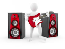 Men with guitar and loudspeaker Royalty Free Stock Photography