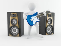 Men with guitar and loudspeaker Stock Photo