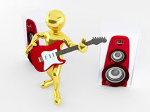 Men with guitar and loudspeaker Stock Images