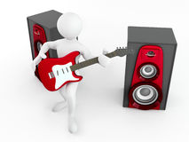 Men with guitar and loudspeaker Stock Photos