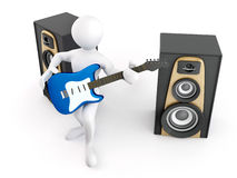 Men with guitar and loudspeaker Stock Photography